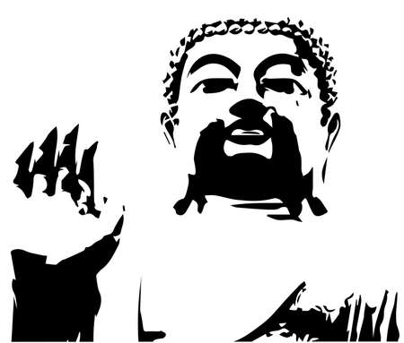The buddha in half tone and over white Vector