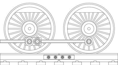 loco: A pair of connected steam train driving wheels isolated on white