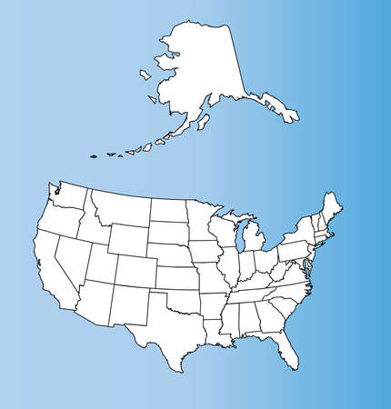 An outline map of The United States of America Vector