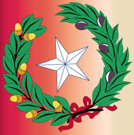laurel leaf: The laurel leaf and star from the seal of the state of TEXAS
