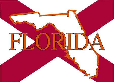 sunshine state: An outline map of Florida with the cross from the flag