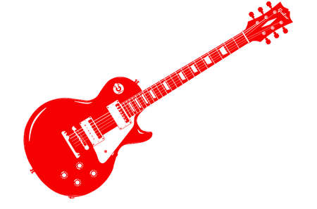 gibson: A classic red electric solid body guitar isolated on a white background