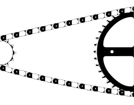 A typical bicycle chain and gears isolated on a white background Illustration