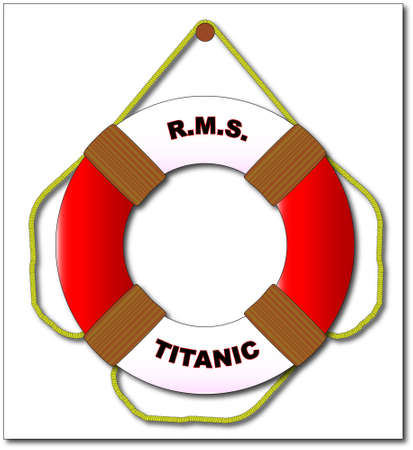 lifebelt: A typical RMS Titanic lifebelt with text and isolated on a white background