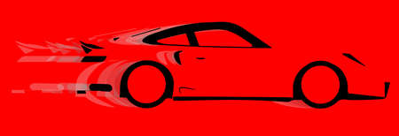 accelerating: A fast car in silhouette with speed blur over red Illustration