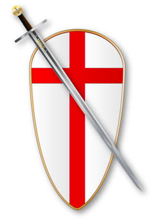The traditional sword and shield associated with a crusader isolated on a white background Vector