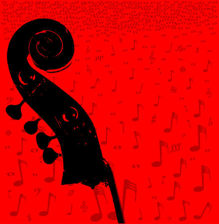 music notation: Double bass headstock and pegs over a red music notation poster background Illustration