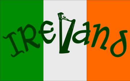 The Republic of Ireland flag with the text IRELAND and an harp Vector
