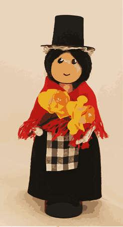 cymru: A welsh cloths pin doll in traditional dress