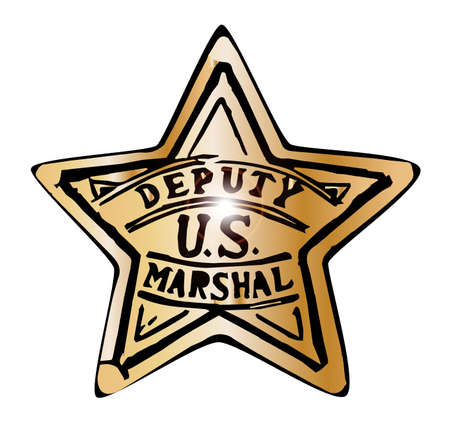 deputy: Deputy US Marshal badge isolated on a white background Illustration