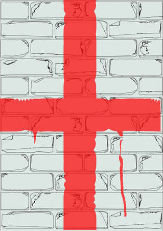 saint george: A white brick wall with the flag of Saint George painted in red with paint drip marks