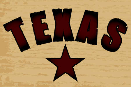 branded: The word Texas branded on a wooden background with a wood grain effect
