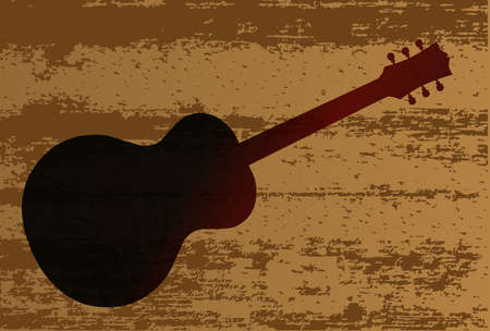 softwood: A background of a plank of wood with grain effect branded with a guitar illustration
