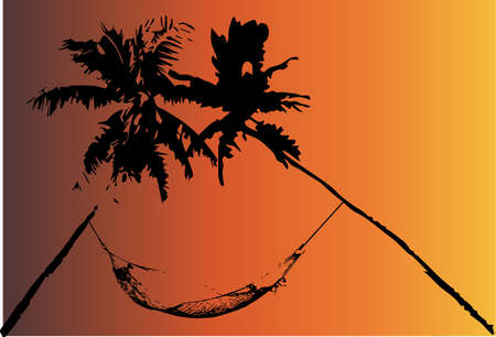 A hammock strung between two palm trees set against a burned background