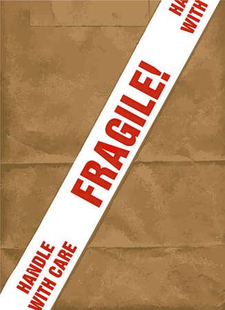 sticky tape: Un fr�gil con la bandera cuidado la cinta adhesiva que se encuentran en parcelas delicados