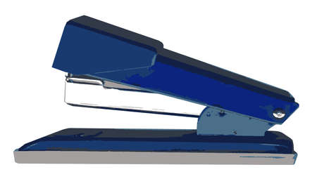 A typical office stapler isolated on a white background