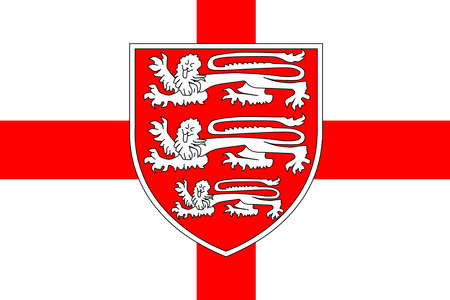 saint george: The flag of Saint George of England with the three British Lions isolated against the red cross  Illustration