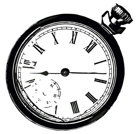 pocket watch: A broken old pocket watch isolated on a white background