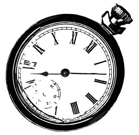 Un viejo reloj de bolsillo roto aislado en un fondo blanco Foto de archivo - 29426116