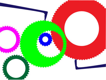 workings: A cartoon style set of gears over a white background Illustration