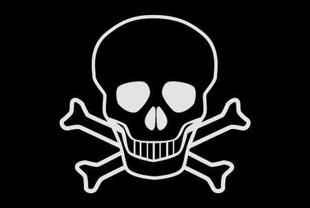 cross bones: Una bandera pirata de la calavera y los huesos cruzados o Jolly Rodger