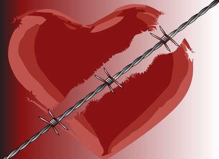 corazon roto: Un corazón roto dividido con alambre de púas