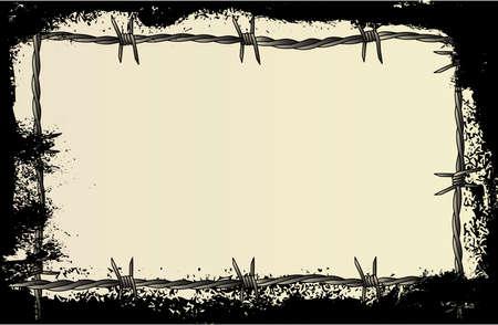 重いグランジ効果と有刺鉄線の背景  イラスト・ベクター素材