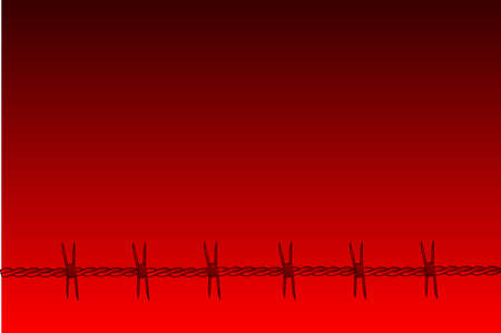 A red barbed wire section set against a red faded background Vector