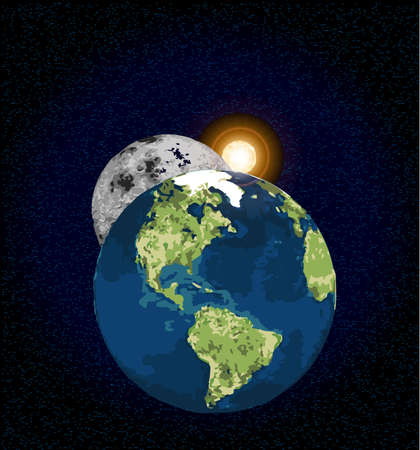 interplanetary: The Earth and Moon with an interplanetary sunrise over a black star filed background