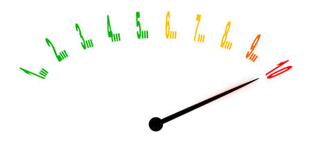 pain scale: A zero to ten gauge registering at ten with the needle vibrating - isolated on a white background Illustration