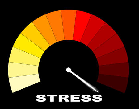 A yellow to red stress gauge on a black background Illustration