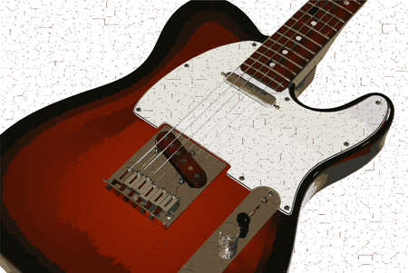 strat: A typical solid body electric guitar isolated on a white background