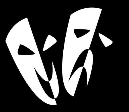 Two stage masks depicting happy and sad over a white background Vector