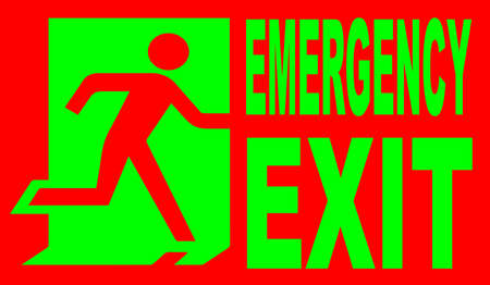 A red and green emergency exit sign Vector