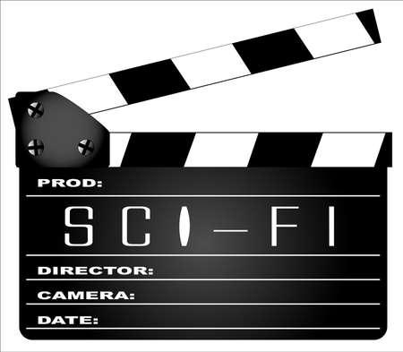 science fiction: Een typische film clapperboard met de legende SCIENCE FICTION geïsoleerd op wit