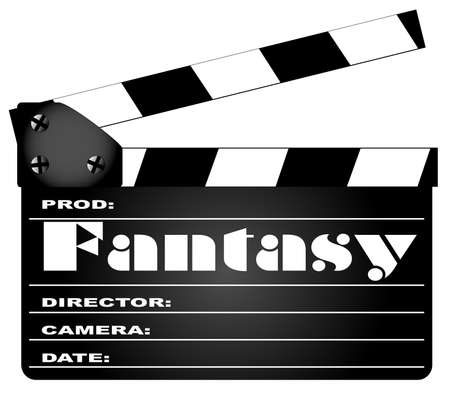 home video camera: A typical movie clapperboard with the legend FANTASY isolated on white  Illustration