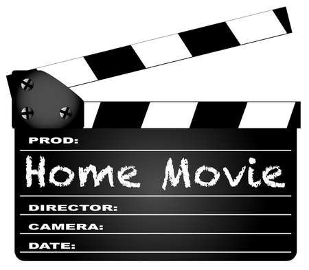 A typical movie clapperboard with the legend HOME MOVIE isolated on white  Vector