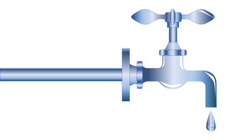 pipework: A chromed dripping garden tap or faucet