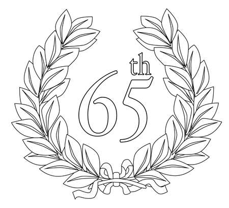 65th: A wreath with ribbon celebrating a 65th event such as a birthday