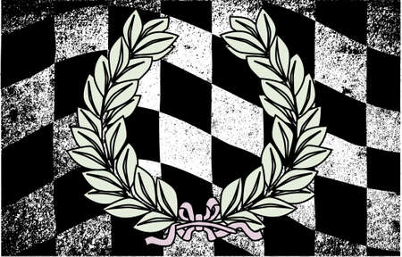 end of the world: A dirty grunge fx chequered race flag with a winner wreath