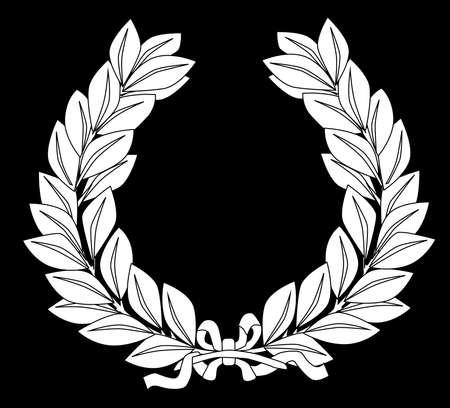 A white laurel crown set on a black background Vector