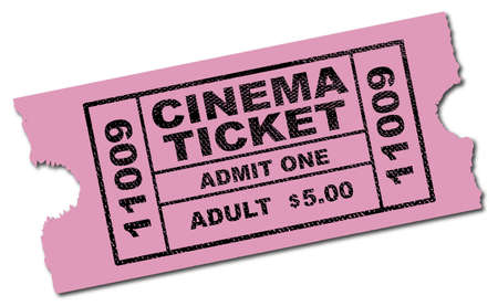 A pink cinema ticket ro admit one adult isolated on a white background