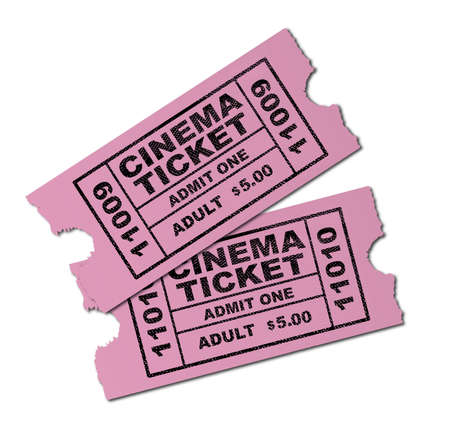 admit: Two pink cinema tickets ro admit one adult isolated on a white background