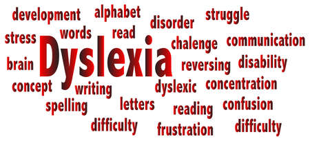 backwards: The word DYSLEXIA with related text