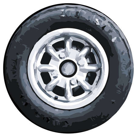 small car: A typical small car aluminium wheel with tyre