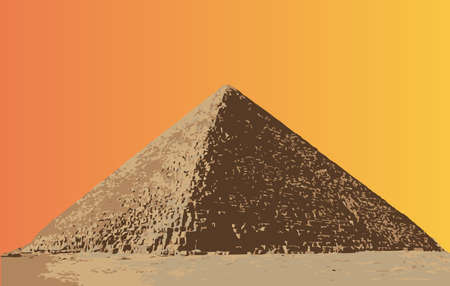 cairo: The Great Pyramid in Egypt set against an orange sky