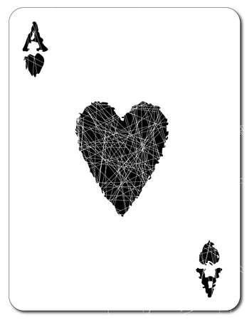 heart tone: El As de Corazones en negro sobre un fondo blanco con efecto grunge