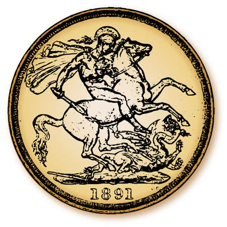 A typical old British coin with a depiction of George killing the Dragon