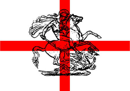 saint george: Saint George killing the dragon over a Saint George Flag
