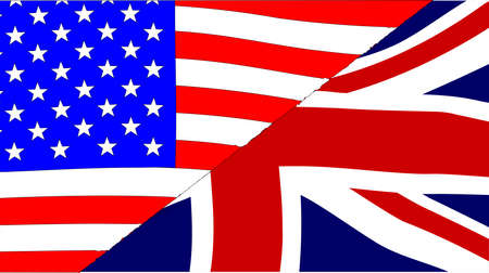 sectioned: The British and American flags sectioned together